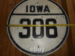 Vintage Antique OLD Steel IOWA IA HIGHWAY 306 Road Highway Embossed SIGN