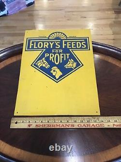 Vintage/Antique Original Florys Feeds for Profit Sign NOS from very old Barn