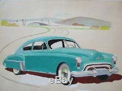 Vintage Antique Painting Wpa Era American Landscape Old Classic Car Regionalism