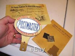 Vintage Antique nos POSTMASTER US License Plate Topper original gas oil sign old