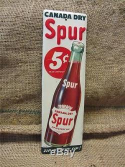 Vintage Canada Dry Spur Drink Door Push Sign Antique Old Soda Cola 9033