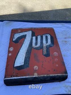 Vintage Curved Stout 7up Sign Antique Old Cola Soda Pop Store Signs 8427