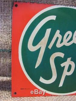 Vintage Double-Sided Green Spot Orangeade Drink Sign Antique Old Orange 9536