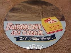 Vintage Fairmont Ice Cream Mirror Sign Old Antique Ice Cream Milk Dairy 9657