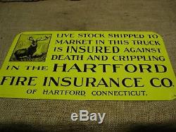 Vintage NOS Hartford Insurance Sign Antique Old 6123