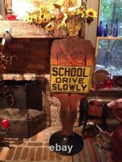 Vintage ORIGINAL Safety SCHOOL CROSSING GUARD Sign & STAND Antique OLD 5' TALL