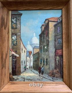 Vintage Oil On Canvas Painting Signed Bernado People In Old City Wood Frame
