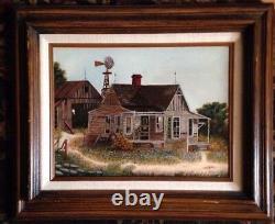 Vintage Oil Painting-Bluebonnets/Old Farm/Barn/Windmill-Landscape