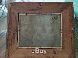 Vintage Oil Painting Landscape Farm on Artist Board Signed Framed Nice Old Frame
