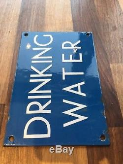 Vintage Old 1940s Blue & White Enamel Sign DRINKING WATER