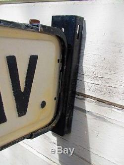 Vintage Old Antique Double Sided Street Sign Metal Post Bracket ADRIAN AV