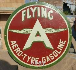 Vintage Old Antique Rare Flying A Gasoline Oil Adv. Porcelain Enamel Sign Board