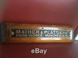 Vintage Old Industrial Cast Brass Sign Plaque Mather & Platt