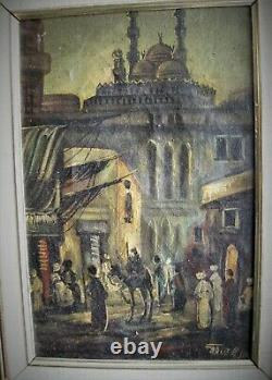 Vintage, Old, Ottoman-Istanbul Oil on Canvas Painting, Signed