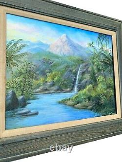Vintage Original Hawaiian Tropical Landscape Painting Palm Tree Old Florida