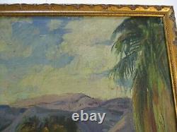 Vintage Painting Impressionism Desert Palms California Landscape Old Antique
