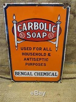 Vintage Porcelain Carbolic Soap Sign Antique Old Signs Advertising 8608