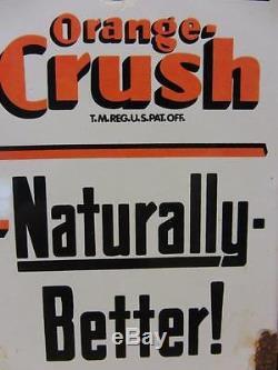 Vintage Porcelain Orange Crush Door Push Sign Antique Old Soda Cola RARE 9549