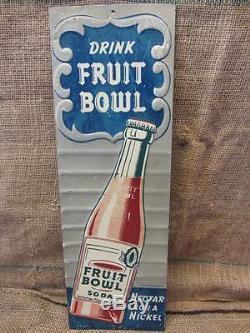 Vintage Stout Sign Co Embossed Fruit Bowl Beverage Sign Antique Old Cola 9284