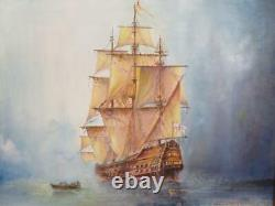 Vintage old PAINTING oil sea galleon fighting ship signed