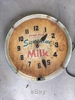 Vintage old antique Sunshine Milk neon clock Advertising sign gas station