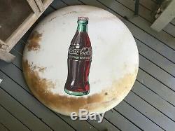 Vintage old antique coca cola coke button round sign 36 inch white rare bottle