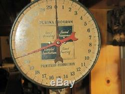 Vtg Antique Purina Feed Saver Cow Culler Hanging Scale Sign Ad Old General Store
