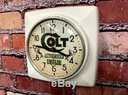 Vtg Ge Colt Gun Shop Dealer Old Hunter Advertising Store Display Wall Clock Sign