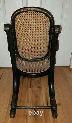 Vtg. Kids Children's Rocking Chair Bentwood Cane Thonet Style Old marking Signed