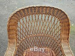 WICKER arm CHAIR natural BAR HARBOR antique ORIGINAL old vtg DELIVERY AVAILABLE