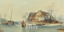 Wilhelm Meyerheim Antique Old Master Oil Painting Country Figures Snow Winter