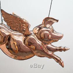 Winged Copper PIG Weather Vane Trade Sign Angel Barbeque Pork Flying Old Style