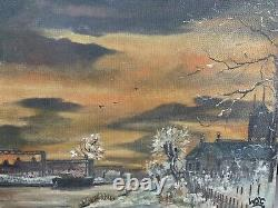 Winston Churchill Original Vintage Old Oil painting hand signed Not A Print