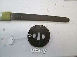 Wwii Japanese Civilian Samurai Sword W Scabbard Old Signed Tsuba Minty Blade C90